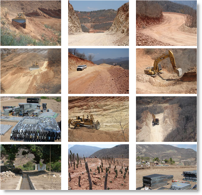 Gold Resource Corp's mine construction pictures.